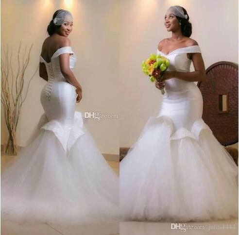 Sexy African Ruffles Skirt Mermaid Wedding Dresses 2017 Dubai Arabic  Off-shoulder Puffy Full length Fishtail Bridal Beach Dress 135e52b5fb92