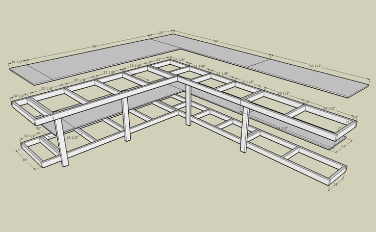 Workbench Plans Corner workbench with measurements; plywood and 2x4 #basement Source: www.wirele...