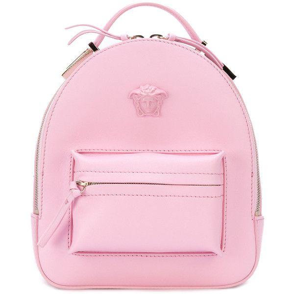 Versace Medusa Palazzo backpack found on Polyvore featuring bags, backpacks, backpack, pink, zip bag, pink bag, zipper bag, daypack bag and knapsack bag