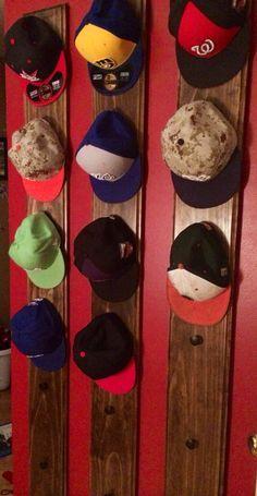 """Baseball hat holder/ rack 6' x 8"""" Pine  Holds 6 hats each                                                                                                                                                      More"""