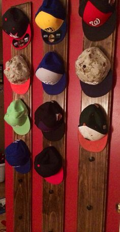 "Baseball hat holder/ rack 6' x 8"" Pine  Holds 6 hats each                                                                                                                                                      More"