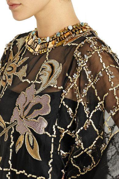 Biyan   Lucy embroidered organza dress   NET-A-PORTER.COM