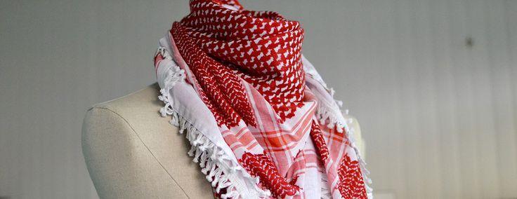 keffieh palestinien rouge et blanc