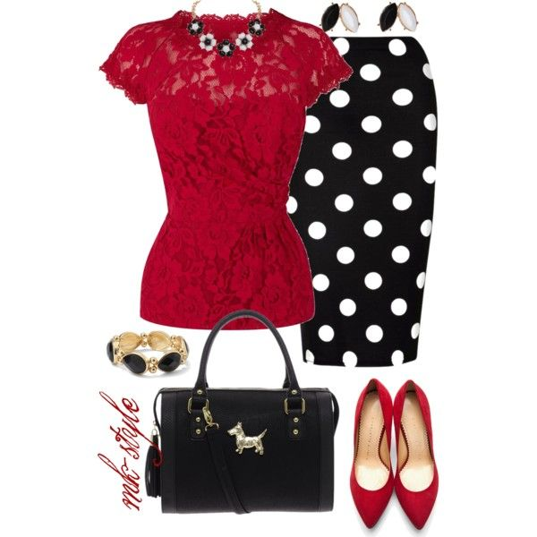 Super cute...minus the jewelry for my taste, but LOVE red with black and white polka dots ♥