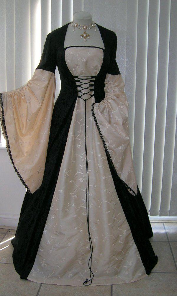 Renaissance Dresses | Renaissance Medieval Black and Cream Taffeta Dress
