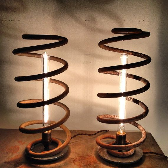 Pair of Vintage Coil Table Lamps by faithfulroots on Etsy, $295.00