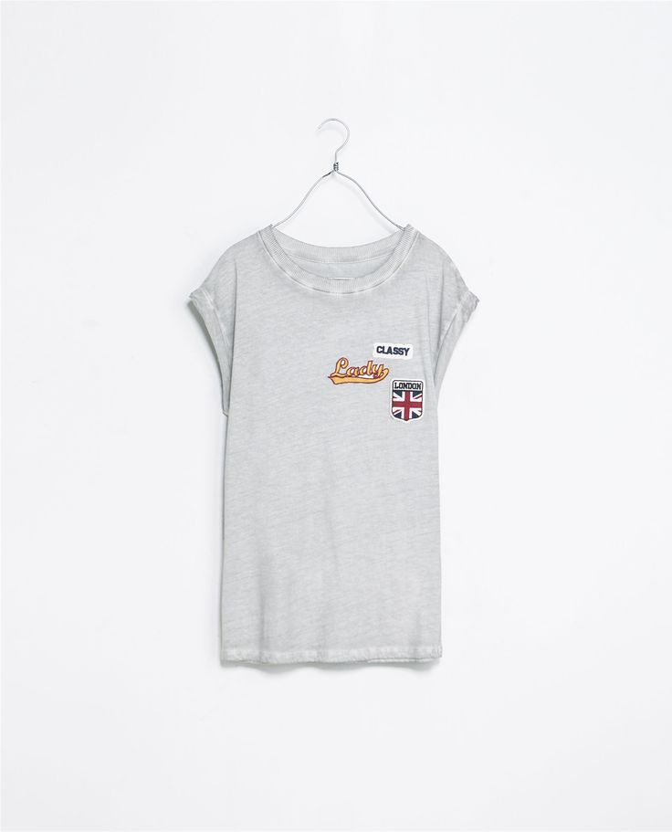 Zara Tshirt with Patches in Gray (Sand / Marl) | Lyst