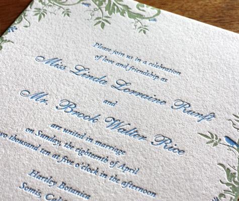 Savannah letterpress wedding invitation design