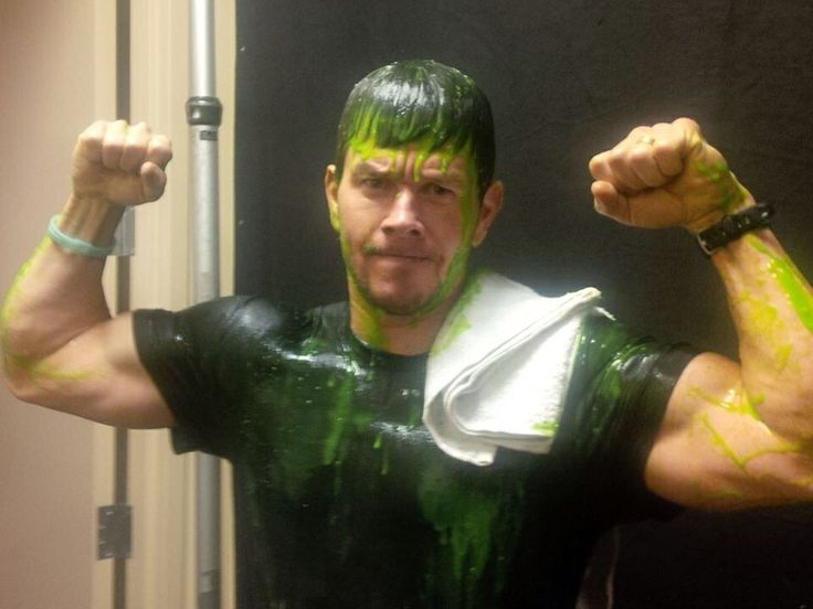 Mark was the host for the 2014 Kids Choice Awards... He kept saying he just couldn't be slimed. Until his own kids got him! He is so hott... This is my kind of Hulk. Those arms!!