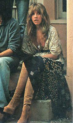 Stevie Nicks 70s rock star vintage fashion style boho peasant skirt blouse tan platform boots shag hairstyle photo print ad