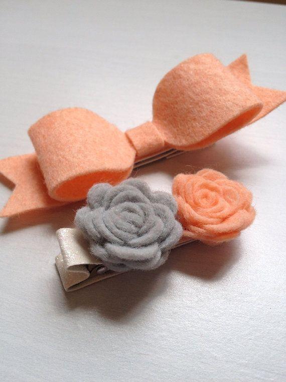Georgia Peach Large Bow and Poises Baby/Girl Hair Clip on Etsy, $5.50