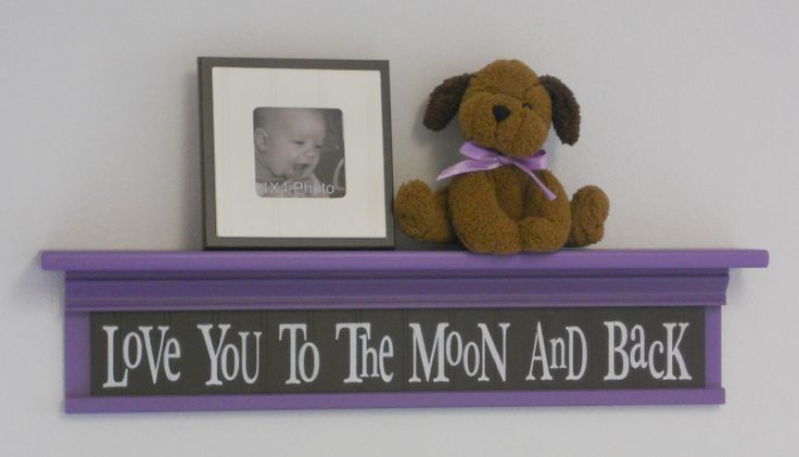 """Baby Girl Brown Purple Nursery Decorating Ideas - Baby Wall Decor Sign Lavender 30"""" Shelf - Love You To The Moon And Back. $48,00, via Etsy."""