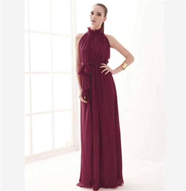 Women Dress Elegant Bohemian Beach  Neck Sexy Maxi Dress Chiffon Halter Long Dress DR410. Sexy Bohemian Style Wedding Bridesmaid Formal Evening Party Dress  Th