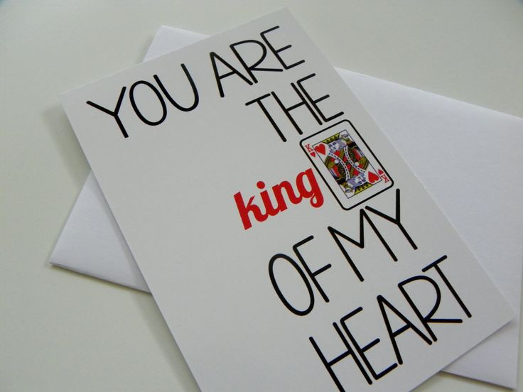 King of Hearts Card Funny Romantic Card Valentines Day Card for Him. $3.50, via Etsy.