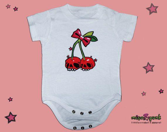Cherry Skulls Rockabilly Baby white Onesie by Miso Punk, $15.00