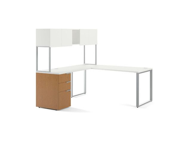 Modern Desk HON Modular Desk Solutions Voi L Shaped Work Station W/Hutch  $1750
