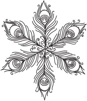 Peacock Feather Snowflake design (UTH4054) from UrbanThreads.com