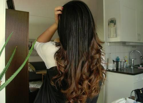 long dip dyed ombre curled