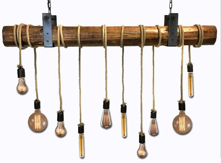 Χειροποίητο Φωτιστικό - Ξύλινο φωτιστικό - πολύφωτο - κορμός - Retro chandelier - industrial lighting - wooden beam lighting - Handcrafted - Edison -Lampadari