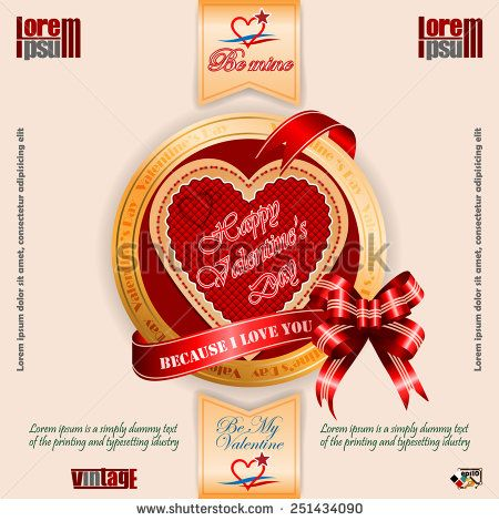 Vintage Happy Valentine's Day background; Because I love text on ribbon;Heart logo By My Valentine and Be mine text.  - stock vector
