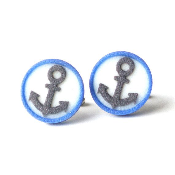 Anchor cufflinks black anchor on white and blue button cufflinks navy male accessory