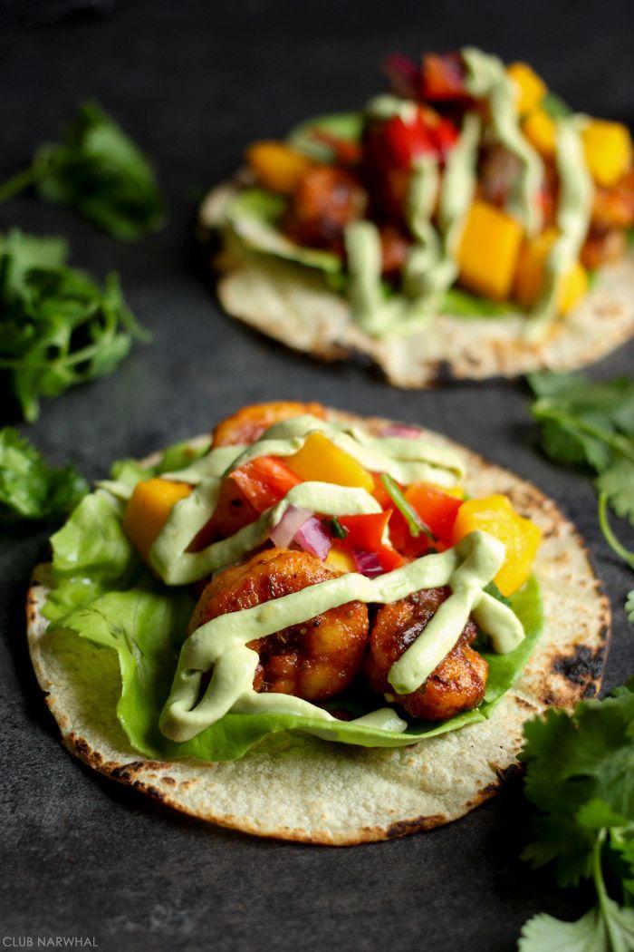 Blackened Shrimp Tacos with avocado cream and mango Salsa