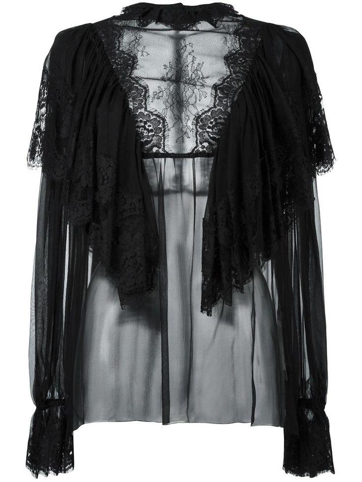 Dolce & Gabbana блузка с оборками и кружевом