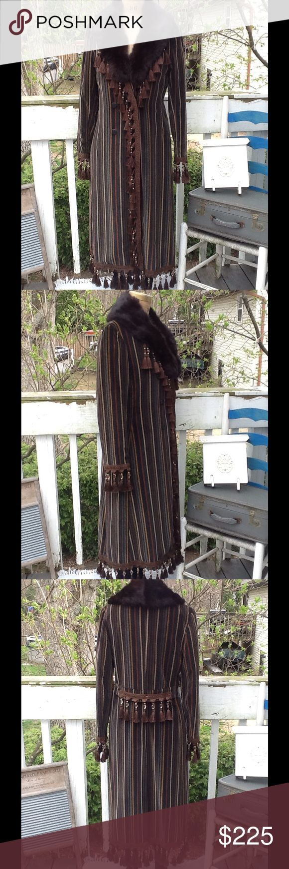 """VTG Velvet Fringe Coat W/Fox Collar Love this Coat...I UPCYCLED this beauty,it's in a striped velvet w/A Large Fox Fur Collar I added, I also added the beaded TASSLE Fringe...(this fringe is $25 a yard,there is about 3-3.5 yards on it,it's fully lined and in EUC!!! It's a Sz 10 by Count Romi LTD Your all weather Traveller...stunning coat! Measurements: L:49"""" to TASSLES, B:40, SH:16"""", SL:22""""-26"""" w/TASSLES, W:18.5"""" buttoned...the colors are shades of brown,black and Gold Vintage Jackets…"""