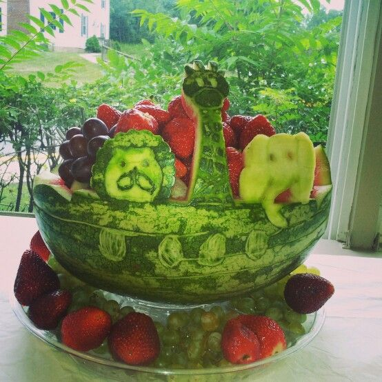 Noah s ark animals watermelon carving baby shower