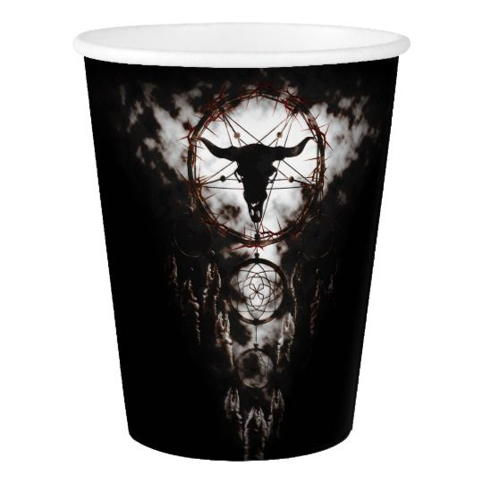 Dreamcatcher - Pentagram Paper Cup for Halloween and Horror Theme Partys  created by cglightNingART / RespawnLARPer  #halloween #party #horrorcraft #gothic #dreamcatcher #shaman #pentagram #papercup #paper #cup #zazzle