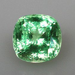 This mint colored Grossular garnet from he northern Tanzanian mining area of Merelani weighs 7.14 carats and measures 10.5 x 10.5 mm