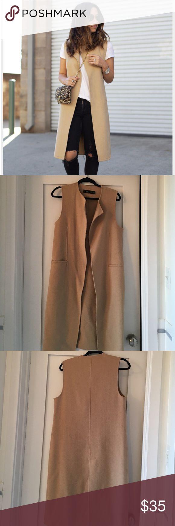 Zara camel vest Long camel vest. Wool & polyester. 2 front pockets, size S Zara Jackets & Coats Vests
