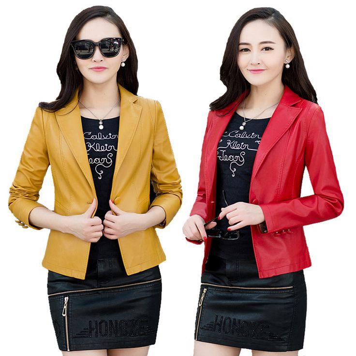 2016 Spring Autumn Single Button Women Leather Coat Female Faux Leather Jacket For Women Leather Jacket Motorcycle Jacket