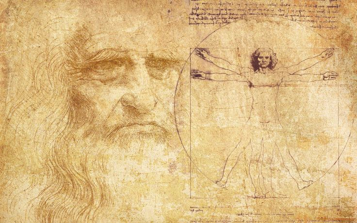 """Leonardo da Vinci is geboren in 1452 Florence dit ligt in Italië. Hij is uitvinder, schilder, schrijver en nog veel meer. Op de afbeelding zie je de """"perfecte mens"""" die door Vinci is uitgevonden."""