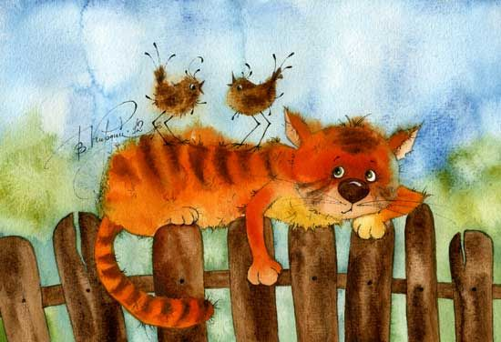 VICTORIA KIRDIY - Russian Artists, Illustrator ...... trying to sneak a cat nap!!! =^.^=