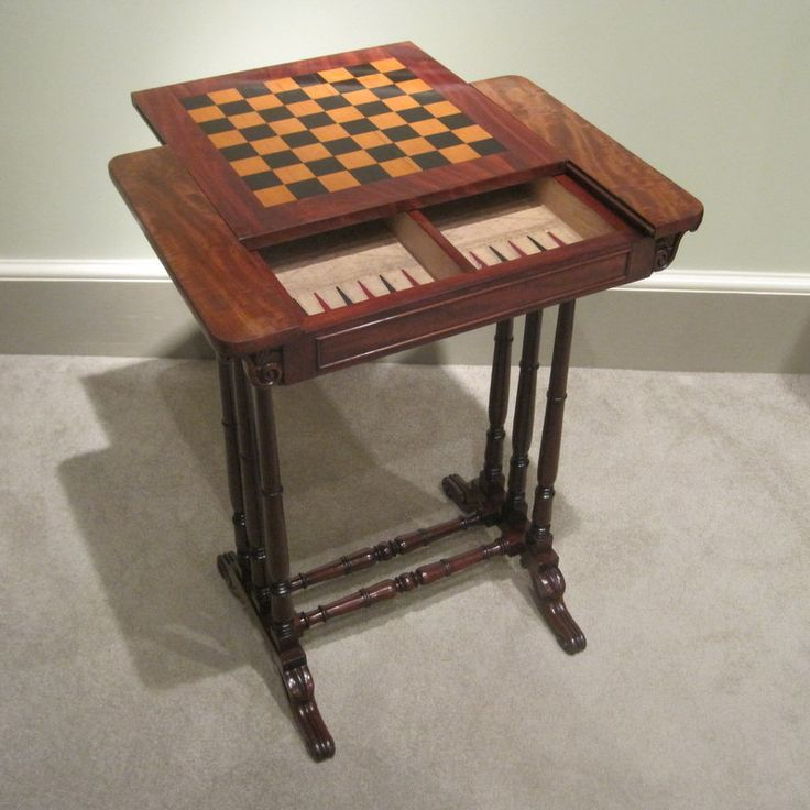 Regency Mahogany Games Table A Fine Small Regency Period Mahogany  Reversible Top Games And Occasional Table, Inlaid With A Boxwood And Ebony Chess  Board, ...