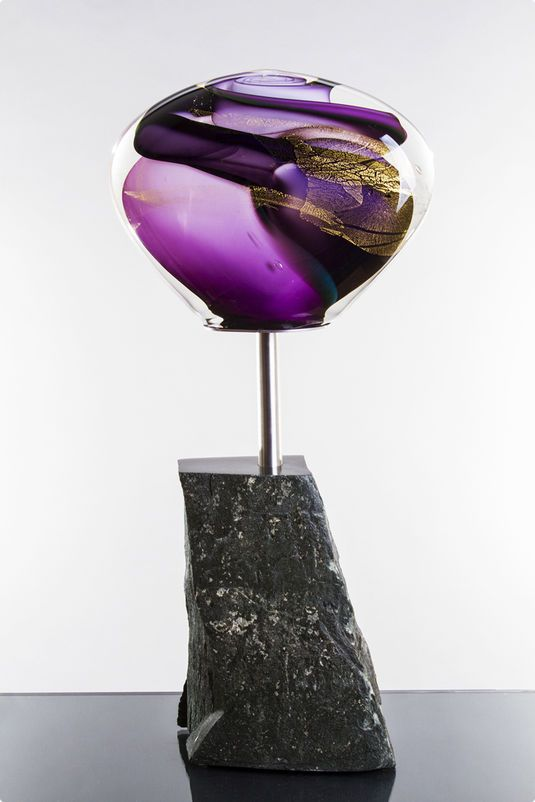 Phil Vickery (British, b. 1979) ~ Vortex Sculpture ~  Free blown glass, gold, ground and polished, boned to stainless steel, and mounted to slate. Photographs by Jo Howell.