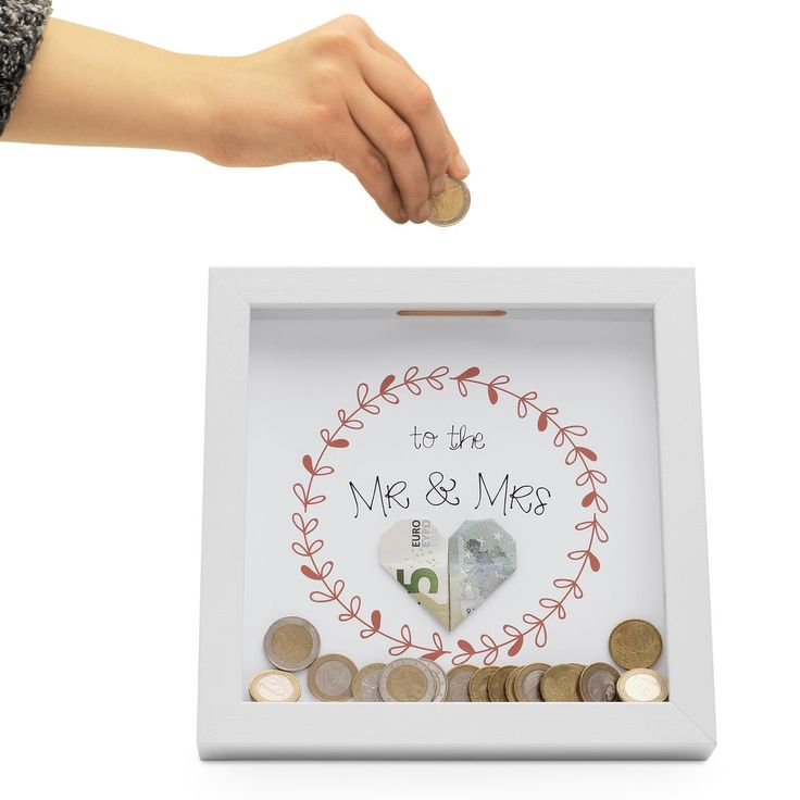 Picture Frame Money Box White Money gift with 3 motifs
