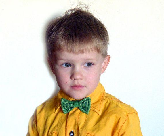 Взрослый и детский зеленые галстуки бабочки от NaiadeHandmade