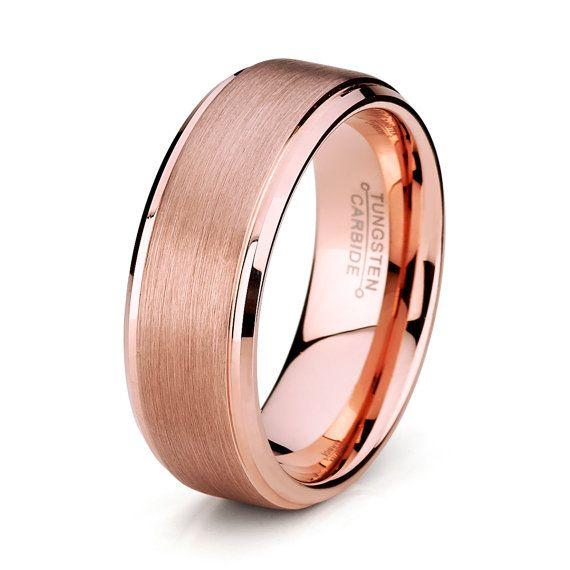 8mm Rose Gold Tungsten Men's Wedding Band