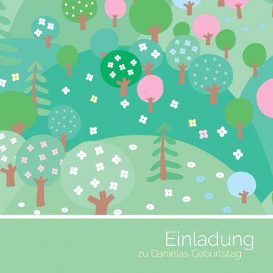 Tolle, quadratische Geburtstagseinladung mit Baumgarten in Frühlingsstimmung