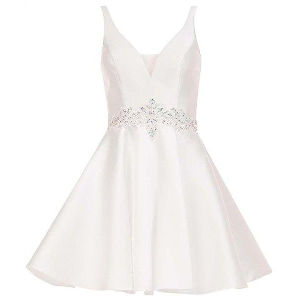 Alyce 3731 Prom ShortDress Mini V-Neck Sleeveless ($158) ❤ liked on Polyvore featuring dresses, diamond white, formal dresses, short homecoming dresses, white prom dresses, white lace cocktail dress, lace cocktail dresses and white lace dress