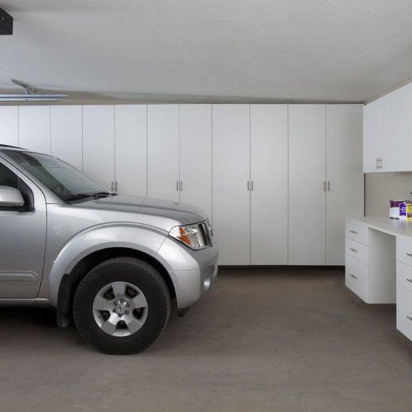 White Garage Cabinets With Workbench