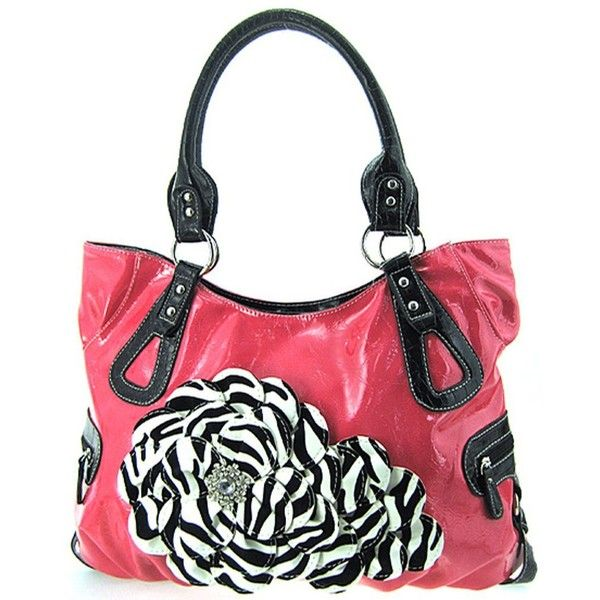 Roomy Hot Pink Raised 3d Zebra Print Flower Purse Handbag