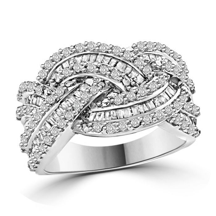 1.30 Ct Diamond Sterling Silver Crossover Ring #AffinityFashionJewelry