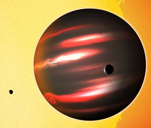 Dark alien planet discovered by NASA. Known as TrES-2b, Its about the size of Jupiter and reflects less than 1 percent of the sunlight falling on it.