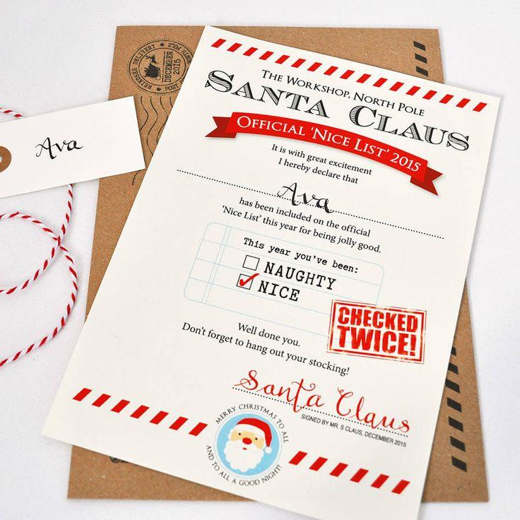 Personalised Santa Letter 'Nice List'