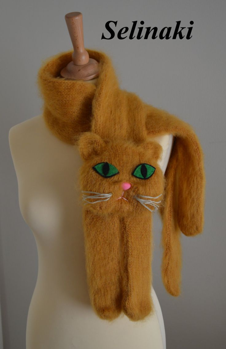 Hand knit Cat Scarf  Handmade by me with 30% Kid Mohair, 20% Wool, 30% Acrylic…