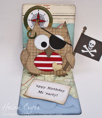 The Dining Room Drawers: Pop 'n Cuts Owl Card... Pirate version!