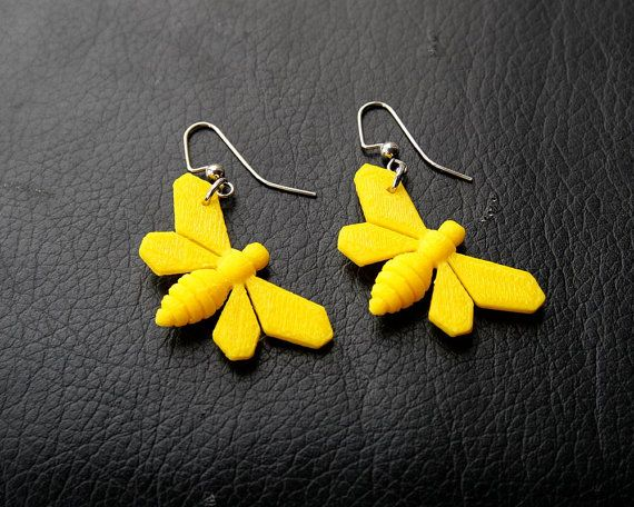 3D Printed Bee Earrings by TheCoconutRobot on Etsy